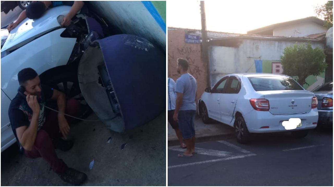 EM SOROCABA: Carro derruba orelhão na Vl. Helena e morador continua na ligação