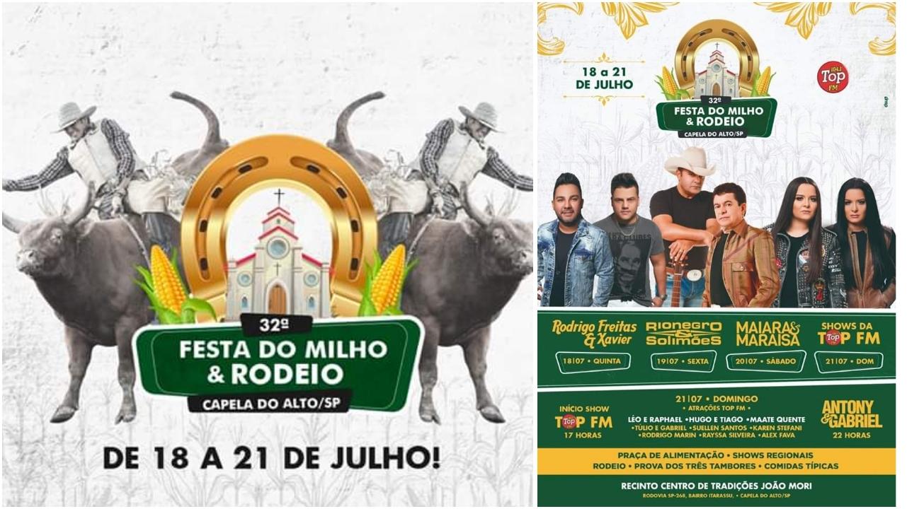 Festa do Milho Verde e Rodeio agitará Capela do Alto com vários shows imperdíveis