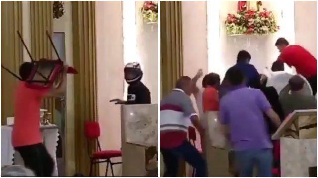 """Ladrão invade igreja, tenta roubar fiéis e acaba tomando """"surra santa""""; vídeo"""