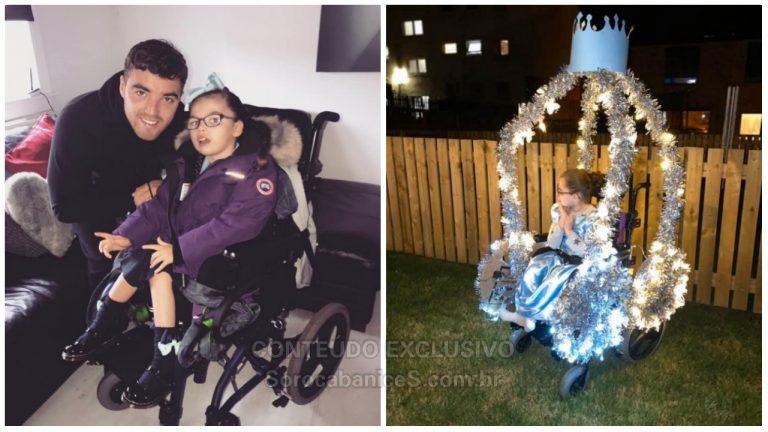 Pai transforma cadeira de rodas da filha em carruagem da Cinderela