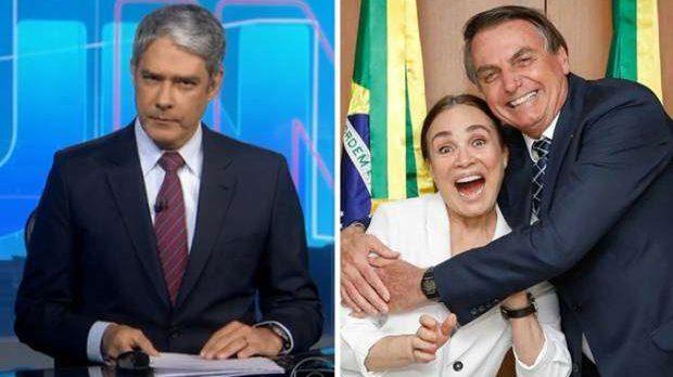 """William Bonner """"demite"""" Regina Duarte ao vivo no Jornal Nacional"""