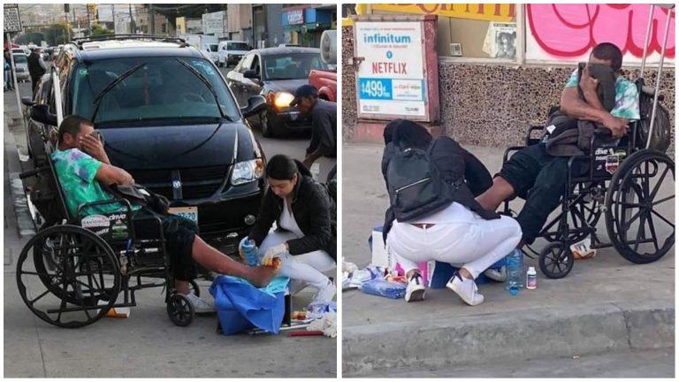 Após sair do trabalho, enfermeira trata ferida de morador de rua