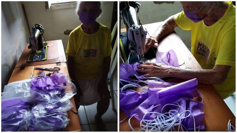 Idosa de 87 anos confecciona máscaras de proteção para distribuir de graça