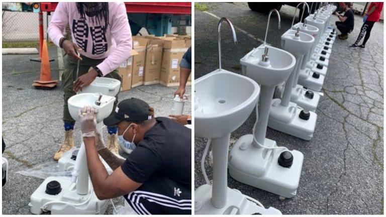 COVID-19: ONG cria pias portáteis para moradores de rua lavarem as mãos