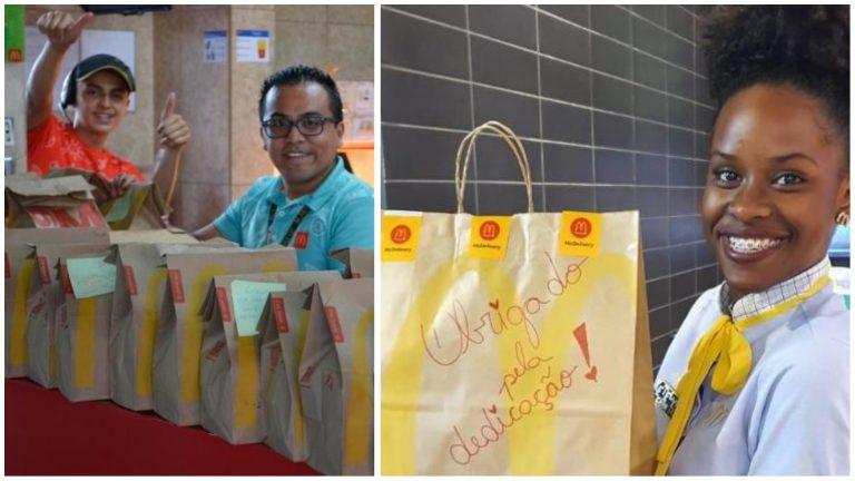 McDonald's envia lanches para médicos e enfermeiros com bilhetes de agradecimento