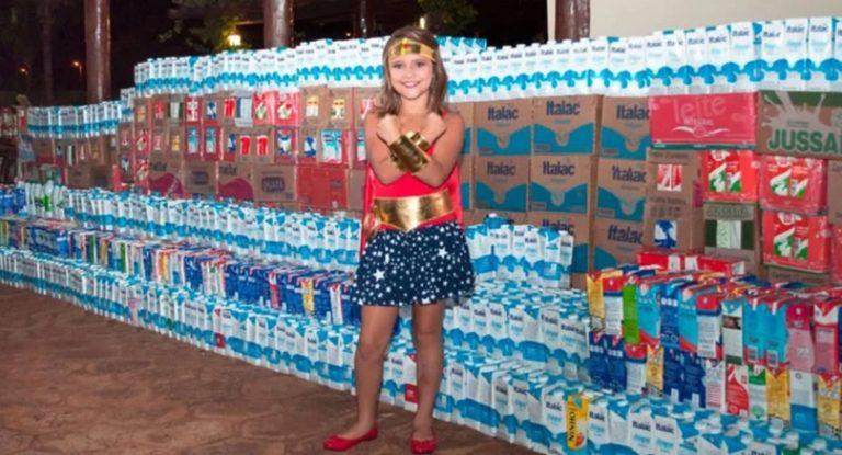 Após vencer câncer, menina arrecada mais de 5 mil litros de leite para crianças em tratamento