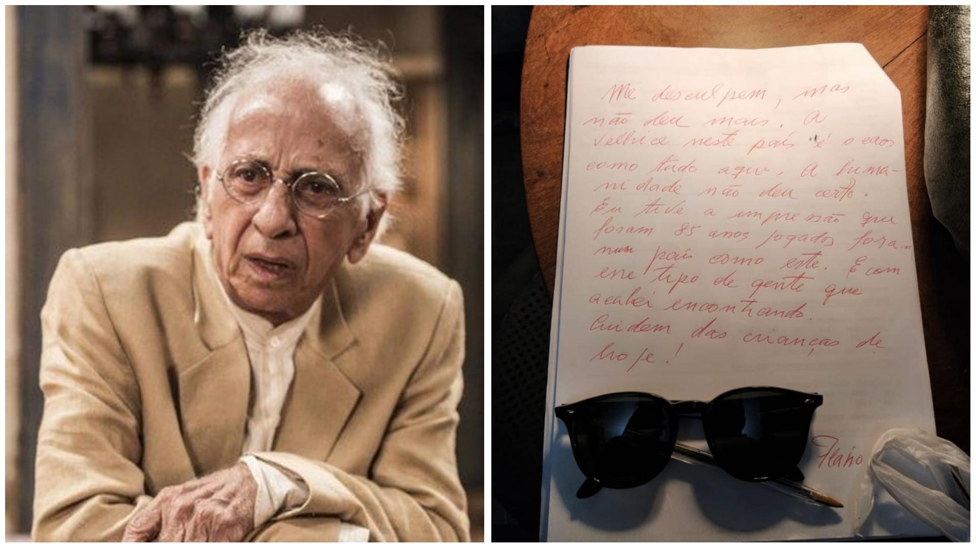 Ator Flávio Migliaccio deixou carta de despedida antes de morrer, diz O Globo