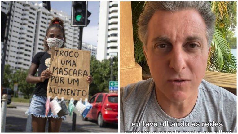 Menina que pediu comida em troca de máscara na rua recebe ajuda de Luciano Huck