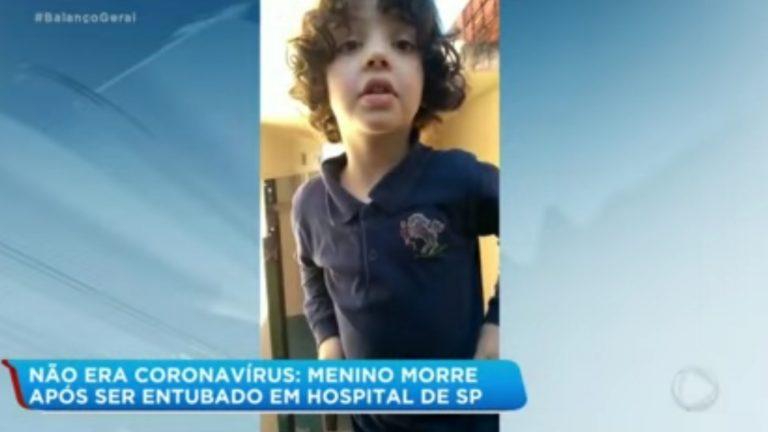 Não era Covid-19: Menino de 4 anos morre após ser entubado em hospital de SP