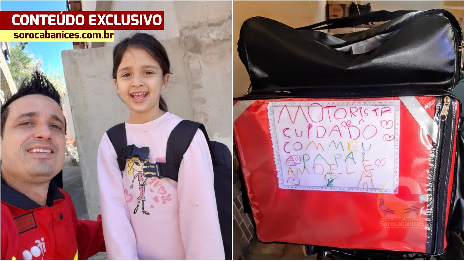 """""""Cuidado com meu papai, amo muito ele""""; escreve filha de motoboy em Sorocaba"""