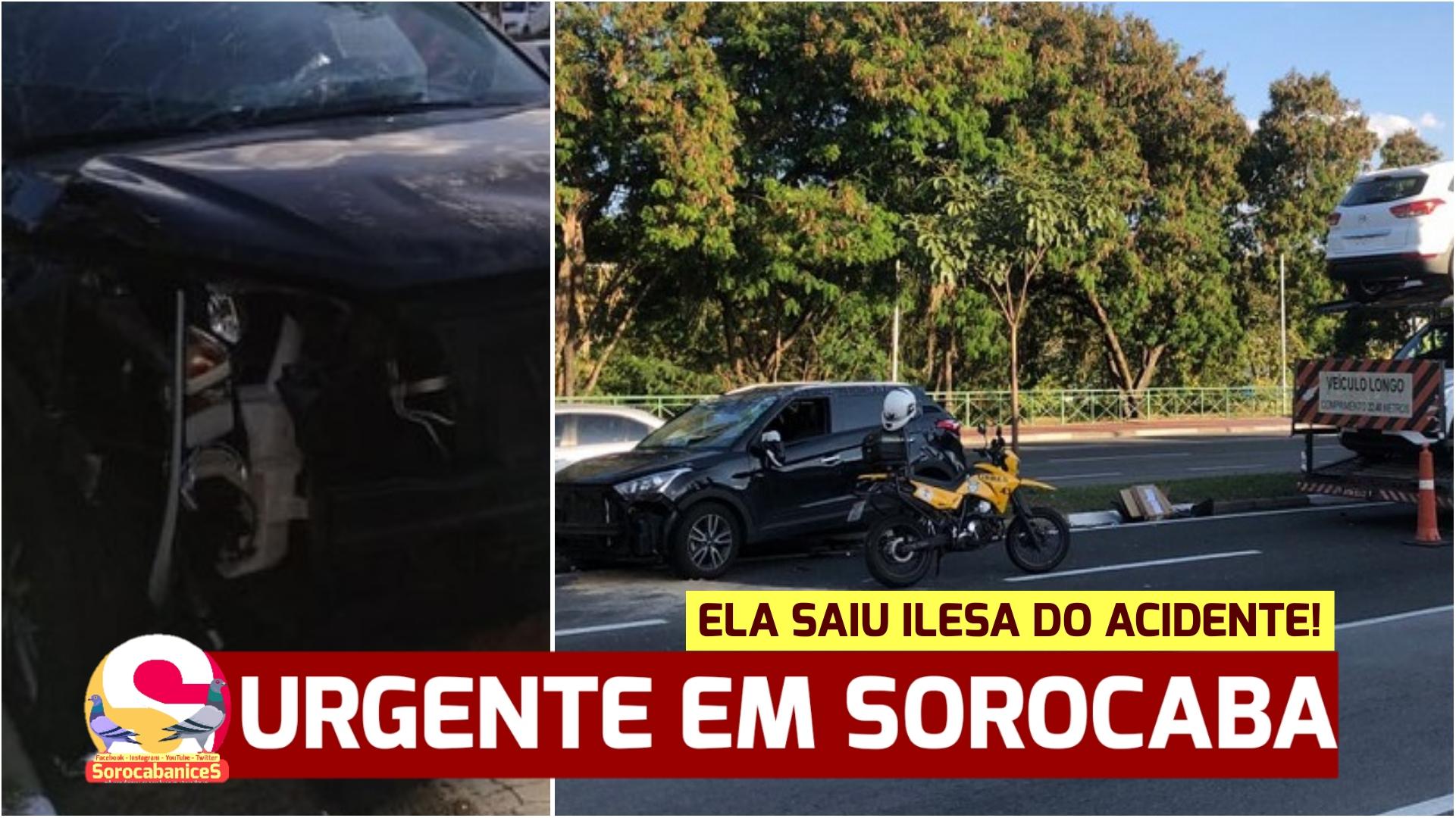 'Milagre': Carro bate em caminhão, capota e motorista sai ilesa em Sorocaba!