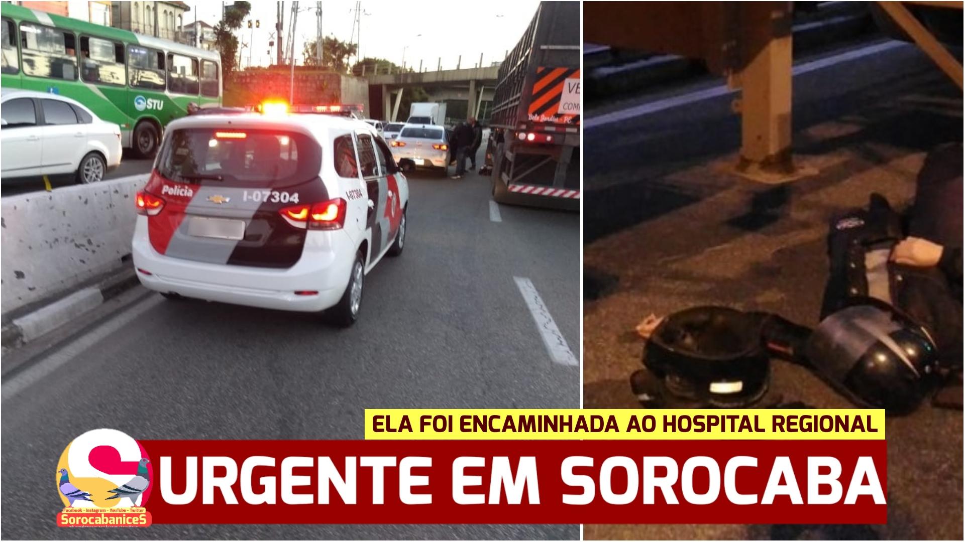 Motociclista bate em traseira de carro e cai embaixo de carreta em avenida de Sorocaba