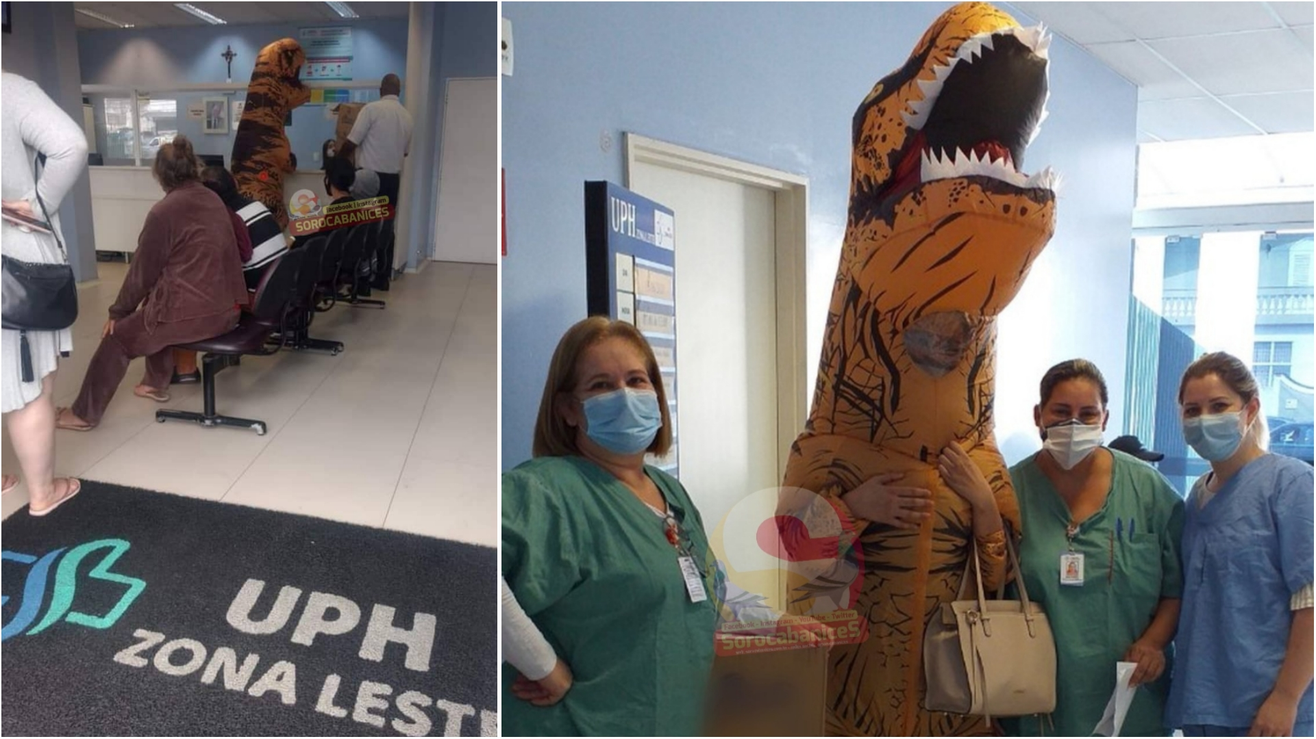 Mulher se veste de dinossauro e doa chocolates para profissionais em UPH de Sorocaba