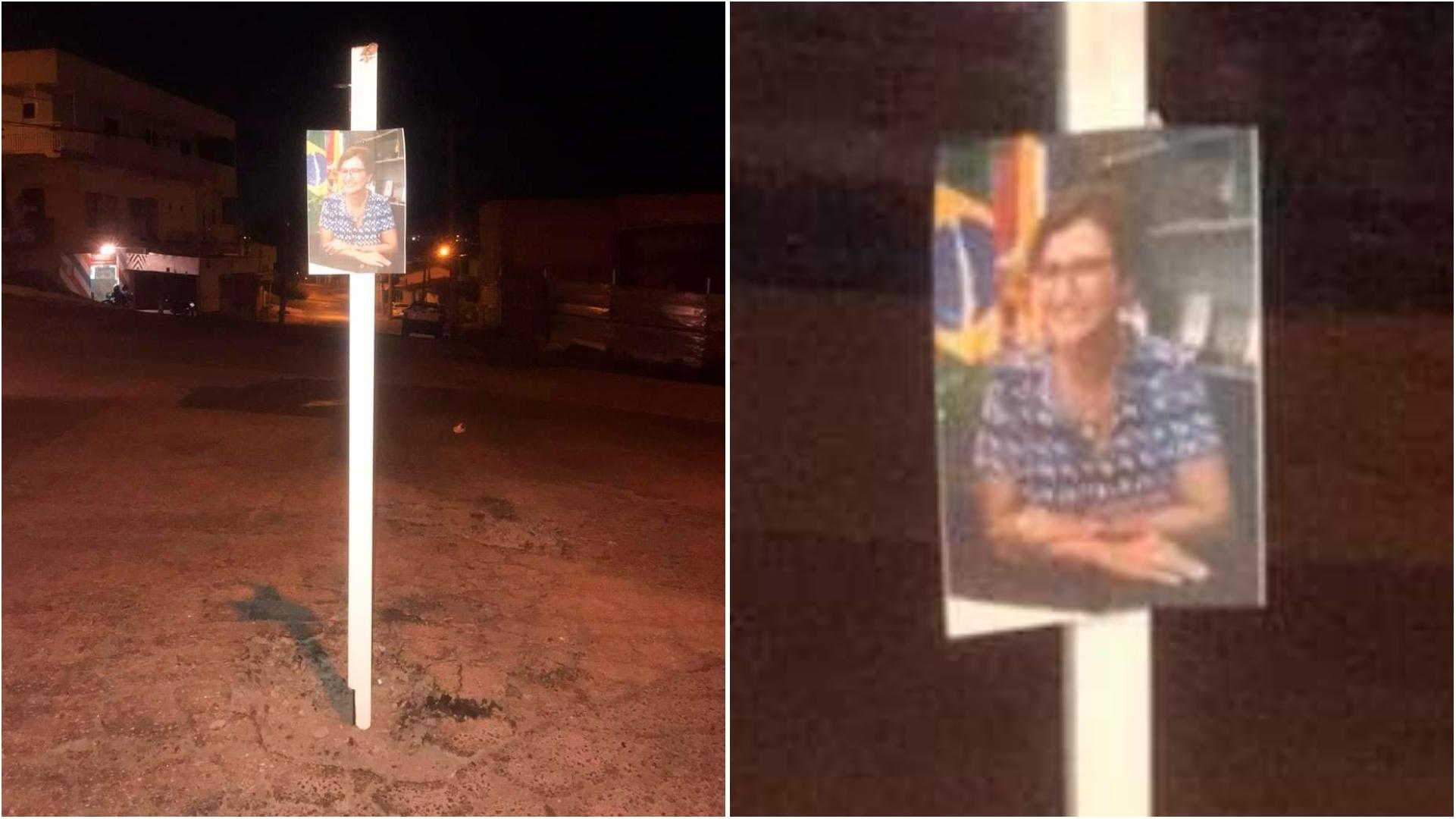 Moradores da zona norte de Sorocaba colocam foto da prefeita em buracos do asfalto