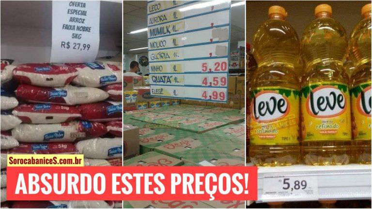 Absurdo! Preços de mantimentos como arroz, leite e óleo assustam consumidores