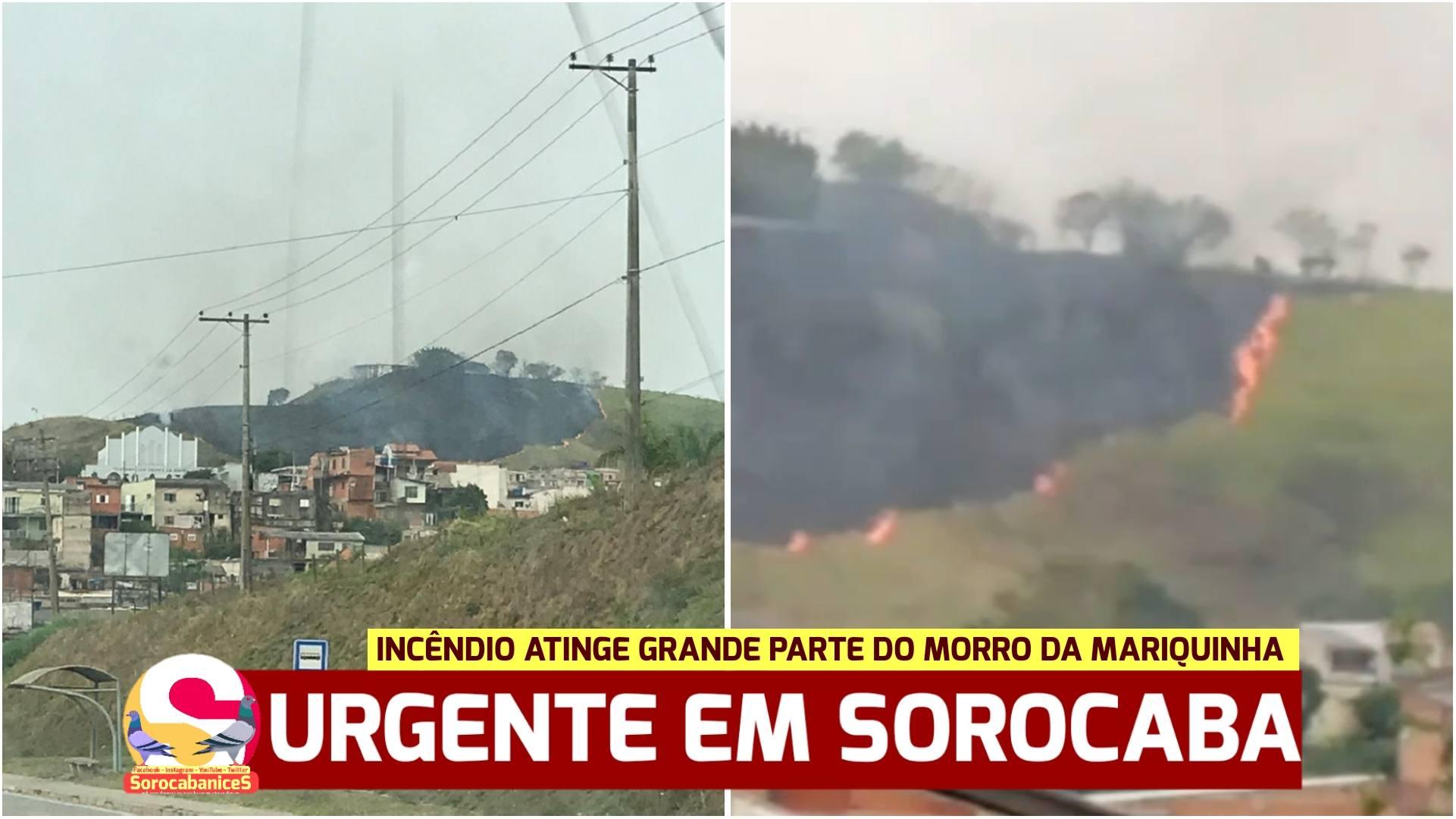 Incêndio atinge Morro da Mariquinha em Sorocaba; Vídeo
