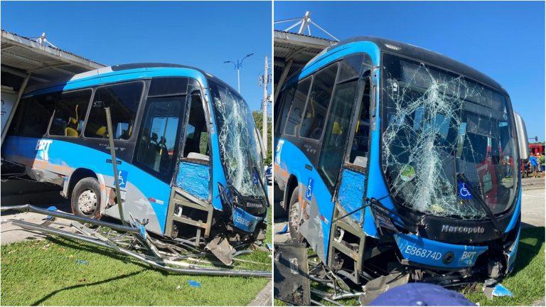 Ônibus invade estação do BRT e deixa 15 passageiros feridos no RJ