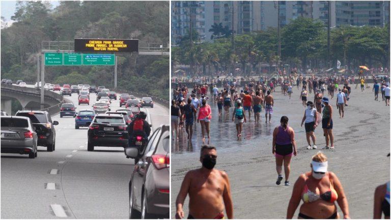 Milhares de turistas e banhistas lotam praias do litoral de SP