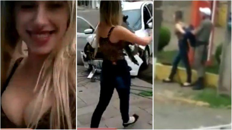 Motorista bêbada dança na rua após bater carro em poste e acaba presa
